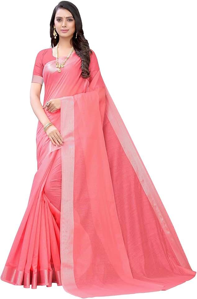 Indian Satrani Women'S Cotton Blend Dyed, Jari Border Saree With Blouse Piece Saree