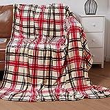 Mantas para Sofás de Franela 160X220CM Estampado Cuadro Rojo - Mantas para Cama de 135-150cm 100% Poliéster Suave y Cómodo-