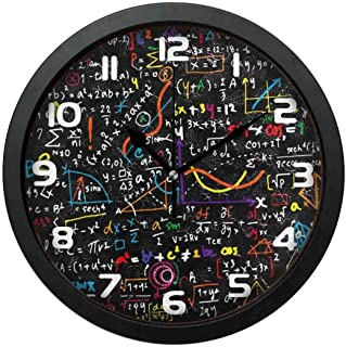 SanJIUCOM Wall Clock Math Education Formula Mute with Frame Clock for Bedroom Living Room Home Office Decor