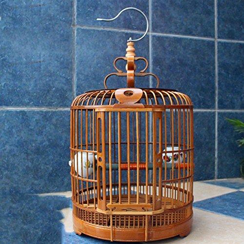 XCJ Bird Cage I Enfant - Cage à Oiseaux Bamboo - Grive Cage à Oiseaux - Cage à Oiseaux Accessoires Cage à Oiseaux,33cm de Diamètr,Bambou