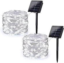 2 stuks zonne-kerstverlichting, 22 meter 200 witte LED voor binnen en buiten met waterdichte koperen draden voor kerst, ka...