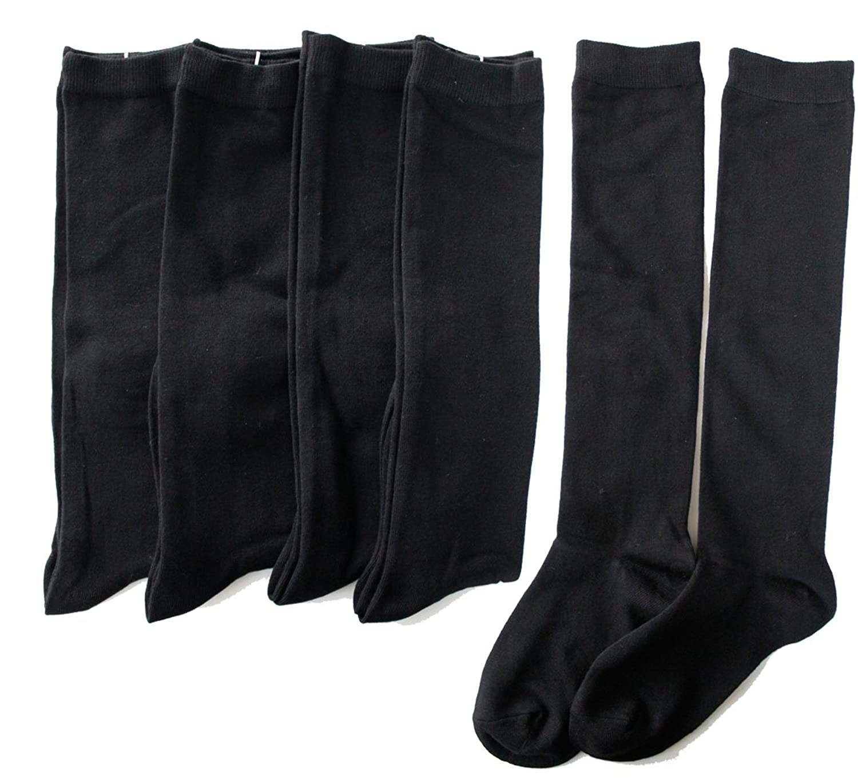 レディース 黒 ハイソックス | 上質なモダール素材の黒無地ハイソックス 5足セット | 通勤 通学 スクール ブラック ハイソックス