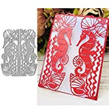 2pcs Seahorse Metal Die Cuts,Christmas Flower Lace Wedding Inviation Card Cutting Dies Cut Stencils for DIY Scrapbooking Craft Decorative Embossing Paper Dies for Card Making