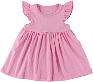 Wennikids Baby Girls' Cotton Flutter Sleeve Dress