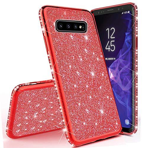 Sycode Strass Diamant Bling Glitzer Überzug Silikon Hülle Case Durchsichtig Schutzhülle für {Samsung Galaxy S10 Plus} Kristall Glänzend Bumper Case HandyHülle-Rot