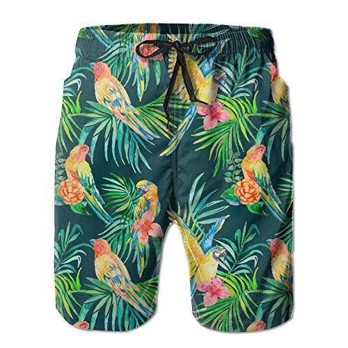 Preisvergleich Produktbild KLYDH AW Men's Lightweight Quick Dry Beach Shorts Parrot On The Leaf Swim Trunks, Size:M