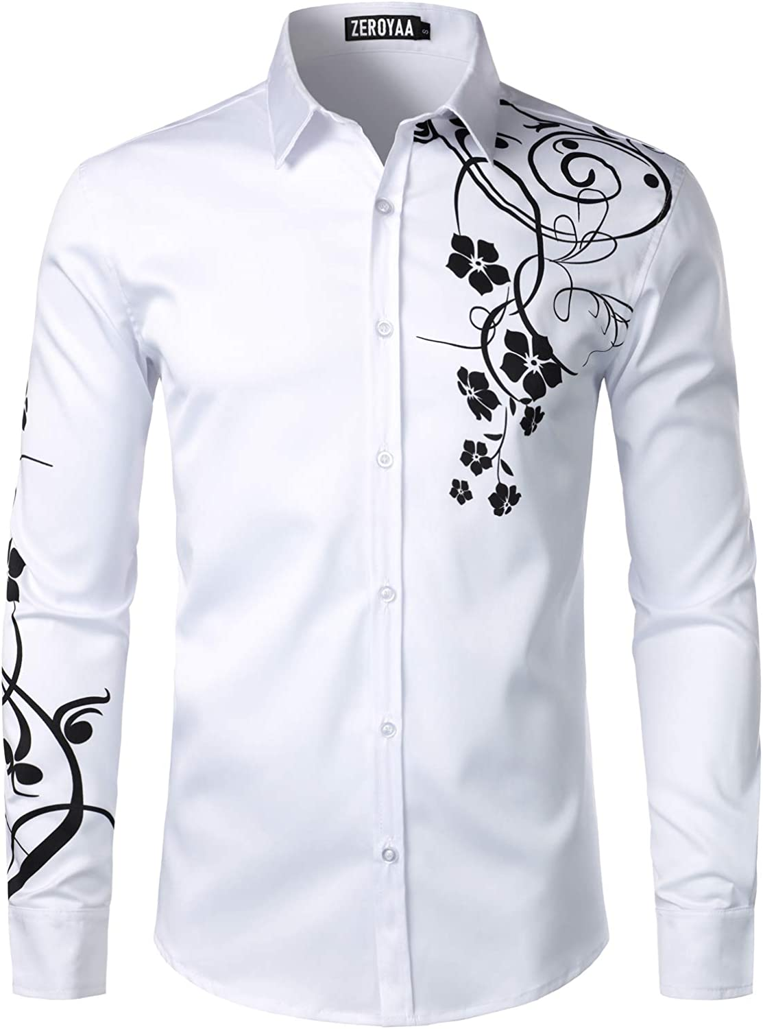 ZEROYAA Men's Hipster Shiny Design Slim Fit Long Sleeve Button Up Party Dress Shirts