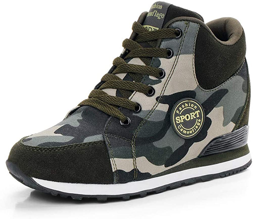Women's Canvas Lace-up Heightening Camouflage Inner Increase Plus Size Sports Sneaker Walking Outdoor Shoes