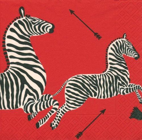 Caspari Servietten, Zebras Rot, 20 Stück