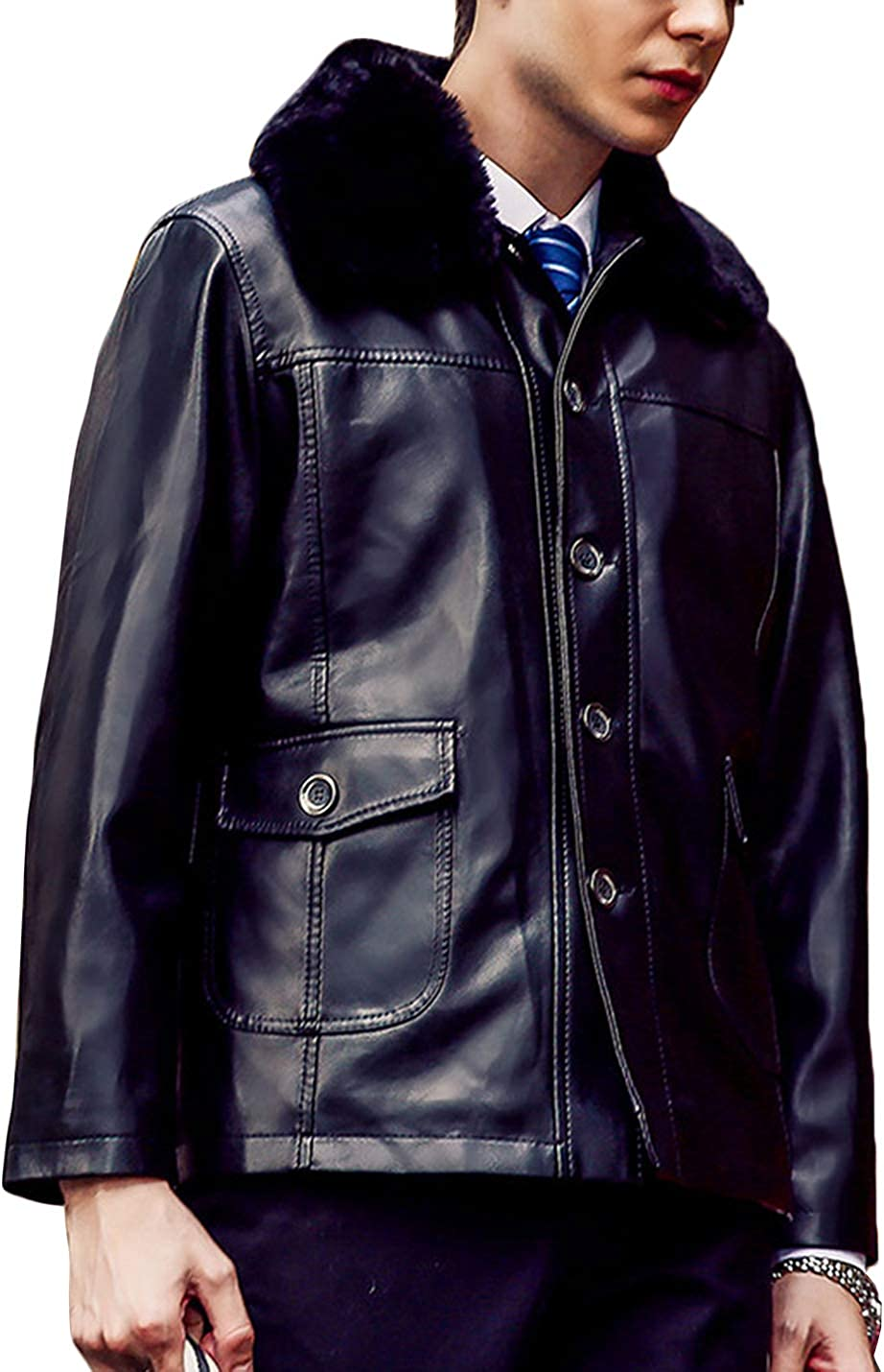 Yeokou Men's Business Casual Lapel Collar Fleece Lined Pu Faux Leather Jackets