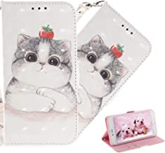 HMTECHUS Huawei Nova 4E case 3D Cartoon Animal Pattern PU Leather Wallet Folio Flip with Card Slots Shockproof Magnetic Clasp Protection Slim Cover for Huawei P30 Lite Tomato Cute cat TX