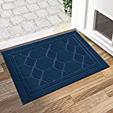 DEXI Non Slip Door Mat 50 x 80 cm,Absorbent Resist Dirt Entrance Rug,Machine Washable Floor Mat for Indoor,Outdoor,Courtyard,Front Back Door - Blue