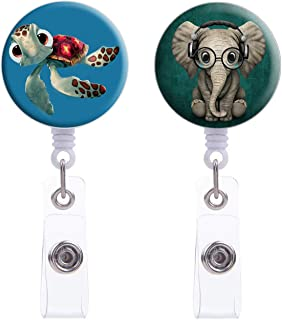Badge Reel, Retractable ID Card Badge Holder with 360 Degree Rotate Alligator Clip, Name Decorative Badge Reel Clip on Card Holders, 24 inch Nylon Cord,2 Pack Green Elephant & Blue Turtle