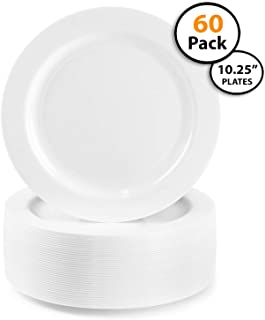 60 Pack | Heavyweight Hard Plastic Plates,- Disposable, China Look, Main Course .Wedding and Party Dinnerware, 10.25 inch,