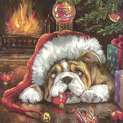 20 servilletas de perro durmiendo con gorro de Papá Noel, animales, invierno,...