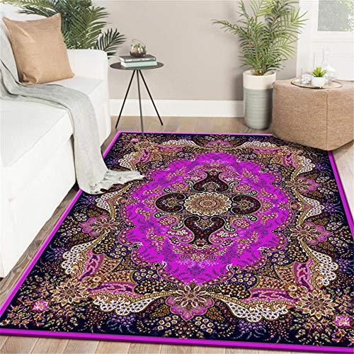 La Alfombra recibidor Moderno alfombras Alfombra Europea Púrpura Marrón Azul Hermoso Patrón Floral Sala Estar Alfombra para Salon alfombras acusticas 80*160cm