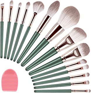 DANVCCAL Makeup Brushes, 14+1Pcs Professional Makeup Brush Set, Advanced Plant Fiber And Solid Wood Brush Handle, Foundation Loose Powder Blush Eye Shadow Brush Kit, With Makeup Brush Cleaning Mat