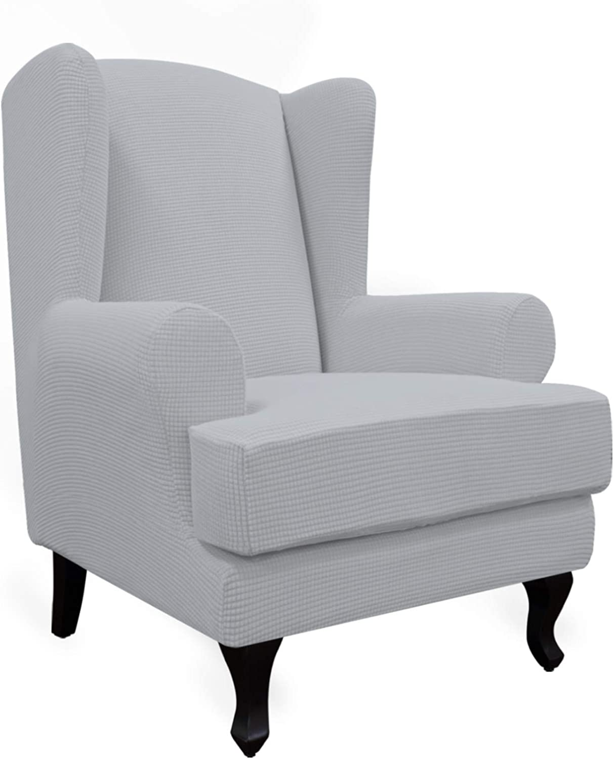 Easy-Going Stretch Wingback Chair Sofa Slipcover 2-Piece Sofa Cover Furniture Protector Couch Soft with Elastic Bottom, Spandex Jacquard Fabric Small Checks Silver Gray