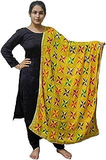 Sahej Suits Yellow Phulkari Pankha Dupatta