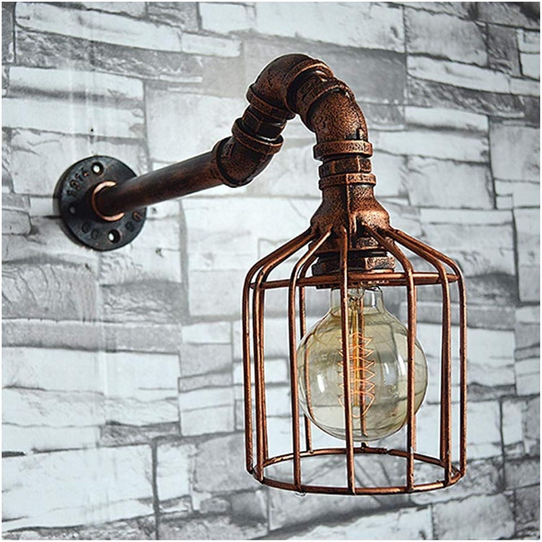 .Wandleuchte Wasserleitung Wandleuchte Retro Individuelle Vogelkfig Dekoration Wandleuchte Bar Restaurant Metall Wasserleitung Leuchten E27 Wandlampe
