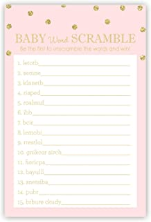 48 cnt Baby Shower Word Scramble Game (Faux Gold Glitter on Pink)