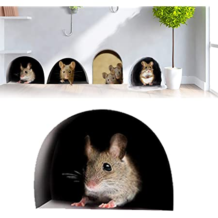3D Mouse Hole Decal Sticker Home Door Stair Windows Wall Car Decor Decor FAST