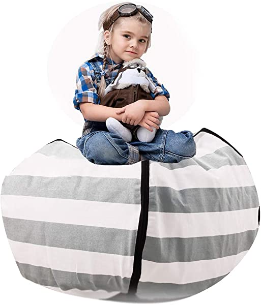 Tigerhu Kids Bean Chair Stuffed Animal Extra Large Cotton Canvas Organizing Bag Perfect Storage Solutions For Plush Toys Blankets Towels Clothes 38 Grey White Striped