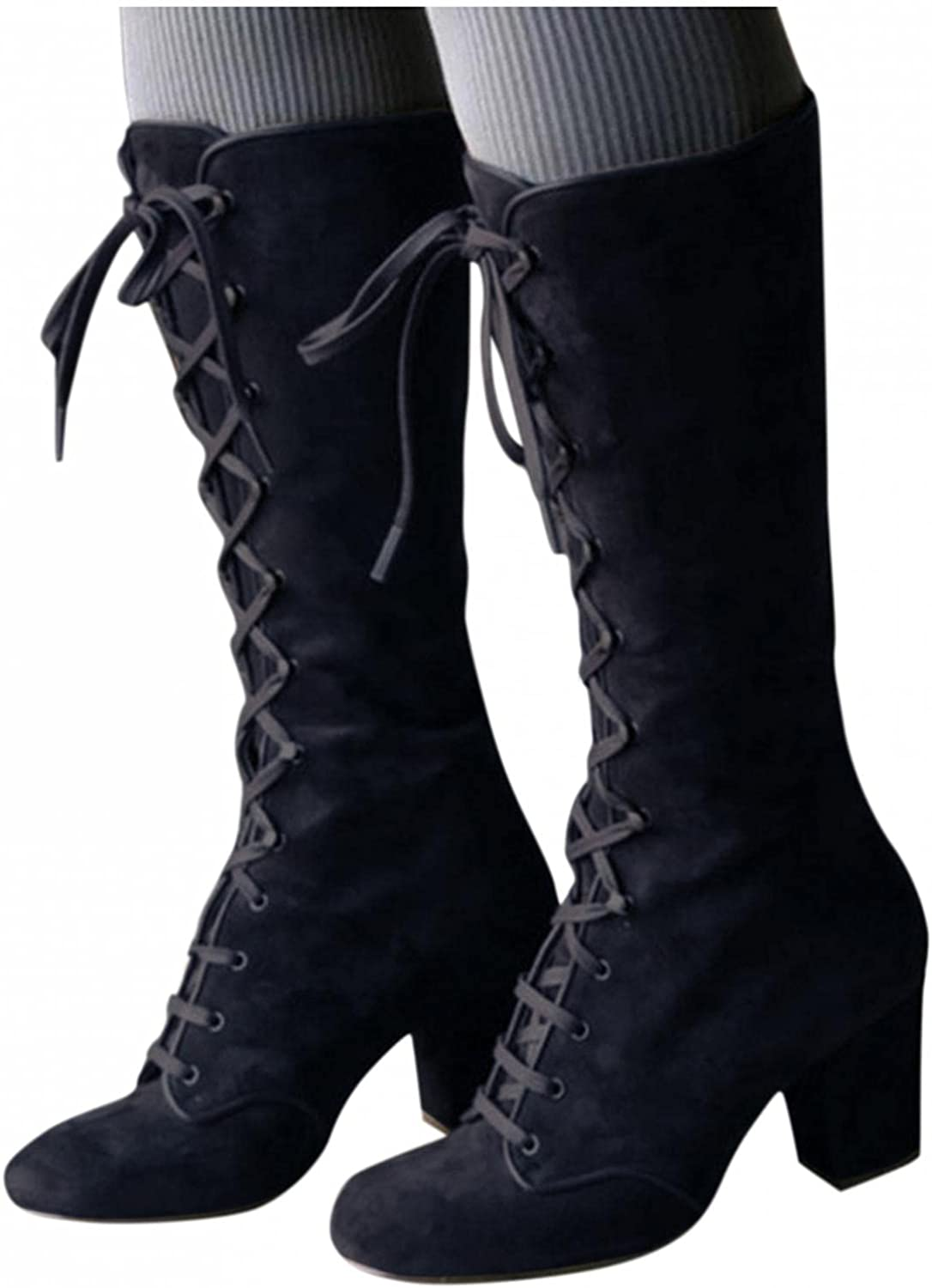 Eduavar Boots for Women Knee High,Women's Fashion Lace Up Round Toe Chunky Mid Heels Cowgirl Boots Slouchy Combat Boots