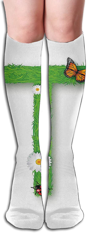 Compression High Socks Caps T With Flourishing Fragrance Botanical Design And Ladybug Girls Theme Socks Women and Men-Best for Running,Athletic,Hiking,Travel,Flight 8.5 x 50cm