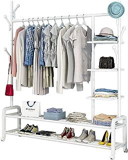 FGHUF Portant Penderie à Vêtement Mobile, Portemanteau Multifonctionnel 3 en 1 Rangements Inférieurs Et 6 Crochets pour Ac...