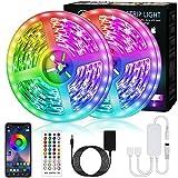 Bonve Pet 12M Tiras LED RGB 5050, Bluetooth Musical Tiras LED 12V Tiras de Luces LED Habitación Iluminación, Control de APP y Remoto Control de 40 Teclas,16 Millones de Colores, Modo Temporizador