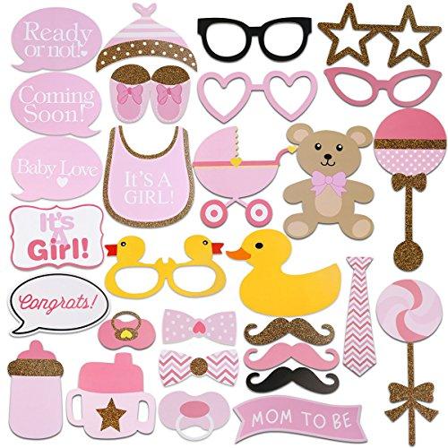 FENICAL 29pcs Baby Dusche Foto Requisiten, Baby Flasche Masken rosa Photobooth Requisiten neugeborenen Mädchen Geschenk Party Dekorationen