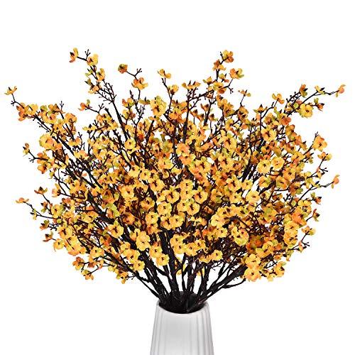MARTINE MALL 6Pcs Baby Breath Gypsophila Artificial Flowers Babies Breath Flowers Bush Artificial Orange Gypsophila Silk Real Touch Blooms for Wedding Bridal Party DIY Home Floral Arrangement, 19.7