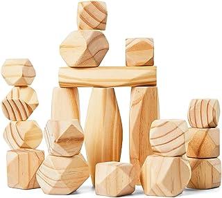 Panda Brothers Wooden Balancing Stones - Natural Pine Wood Rock Set, Montessori Educational Preschool Learning Sensory To...