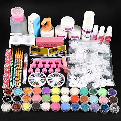 Acrylic Nail Kit Pink Clear White Acrylic Powder and Liquid Set False Nail Tips Acrylic Brush Manicure Set for Nails