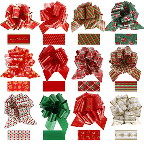Christmas Pull Bows 12pcs Swirls, Bows for Present Holiday Christmas Birthday Party Decoration Wrapping