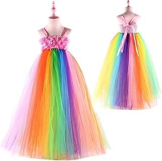 db3bcd658beb3 Sweet Rainbow Flower Girls Tulle Tutu Dress Junior Bridesmaid Wedding  Dresses Girl Dress Summer