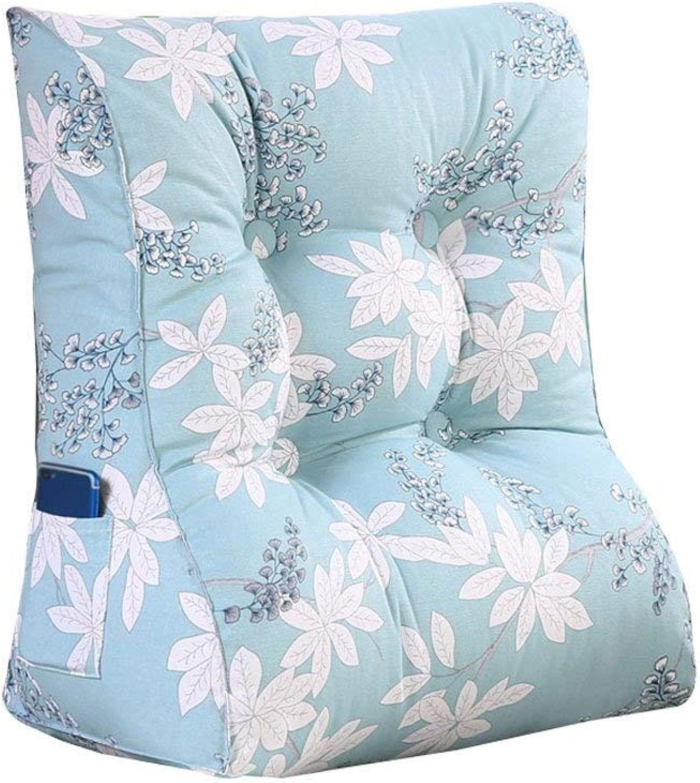Coussins De Chevet Coussin de lit Dossier au dos Triangle Dossier lavable Coussin de canapé sur le lit ZHANGAIZHEN (Couleur   bleu impression, Taille   45cm30cm55cm)