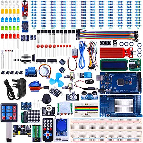 UNIROI Mega2560 Project The Most Complete Ultimate Starter Kit Compatible with ArduinoIDE w/TUTORIAL, MEGA2560 R3 Controller Board, LCD 1602, Servo, Stepper Motor (242 Items)