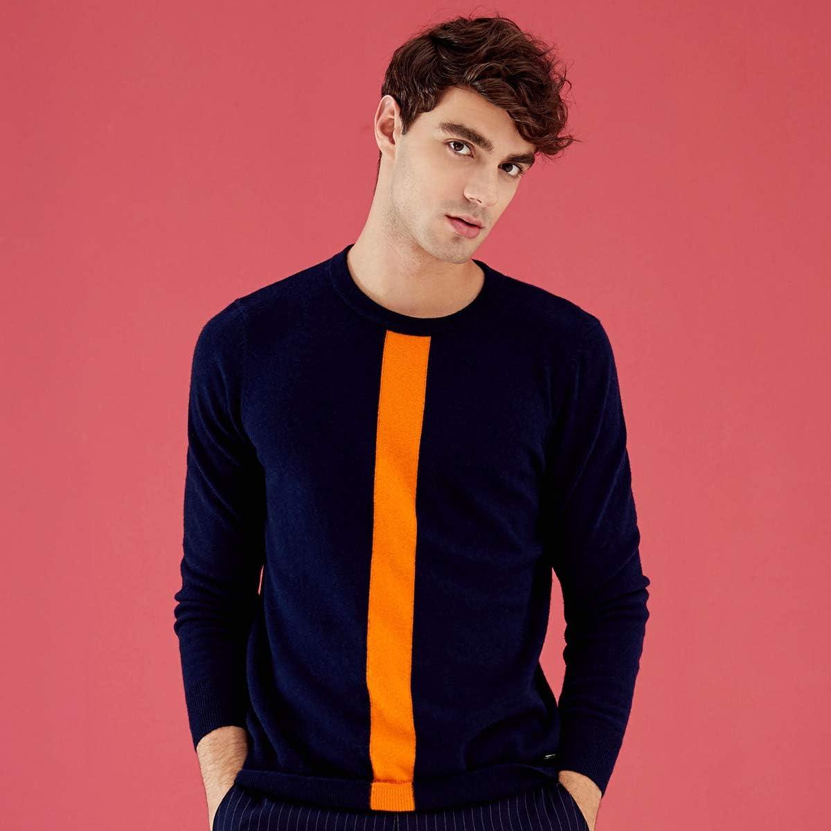 zhili Men's Crew Neck Pullover Cashmere Sweater