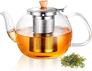 SUSTEAS 40 Ounces Glass Teapot with Removable Stainless Steel Infuser, Borosilicate Glass Tea Kettle, Blooming Loose Leaf Teapots