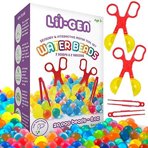 Li'l Gen Water Beads with Fine Motor Skills Toy Set, Non-Toxic Water Sensory Toy for Kids - 20,000 Beads with 2 Scoops and Tweezers for Early Skill Development