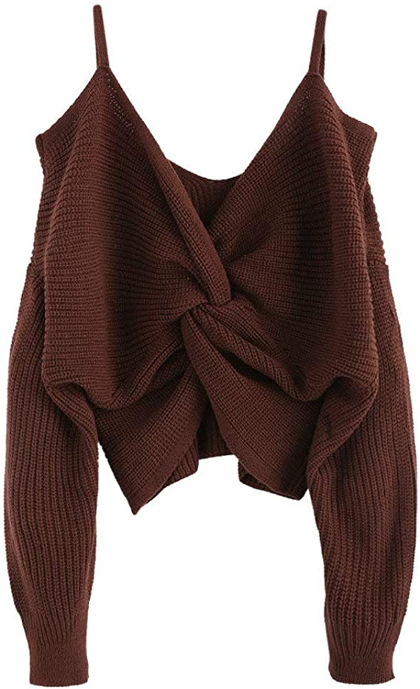 ZAFUL Women's Twisted Cold Shoulder Jumper Pullover Sweater Solid Long Sleeves Knitted Short Sweater
