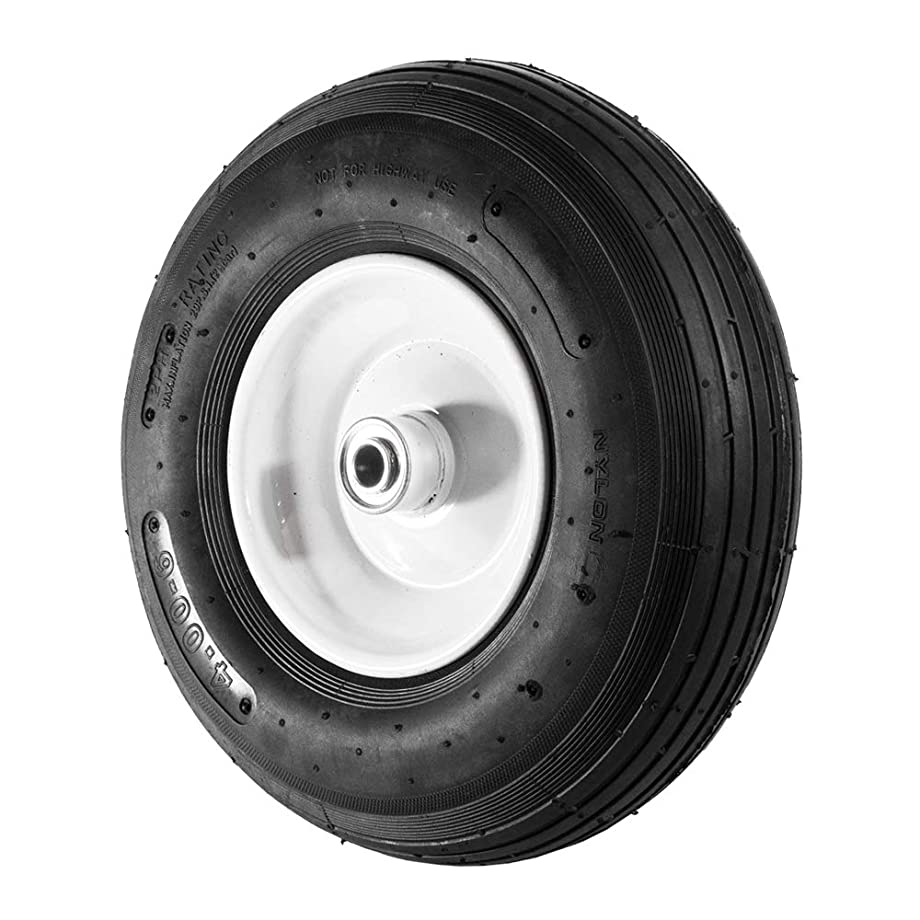 ALEKO WBAP13 Ribbed Pneumatic Replacement Wheel for Wheelbarrow Welded Rim Air Filled Turf Tire 13 Inches Black White Rim