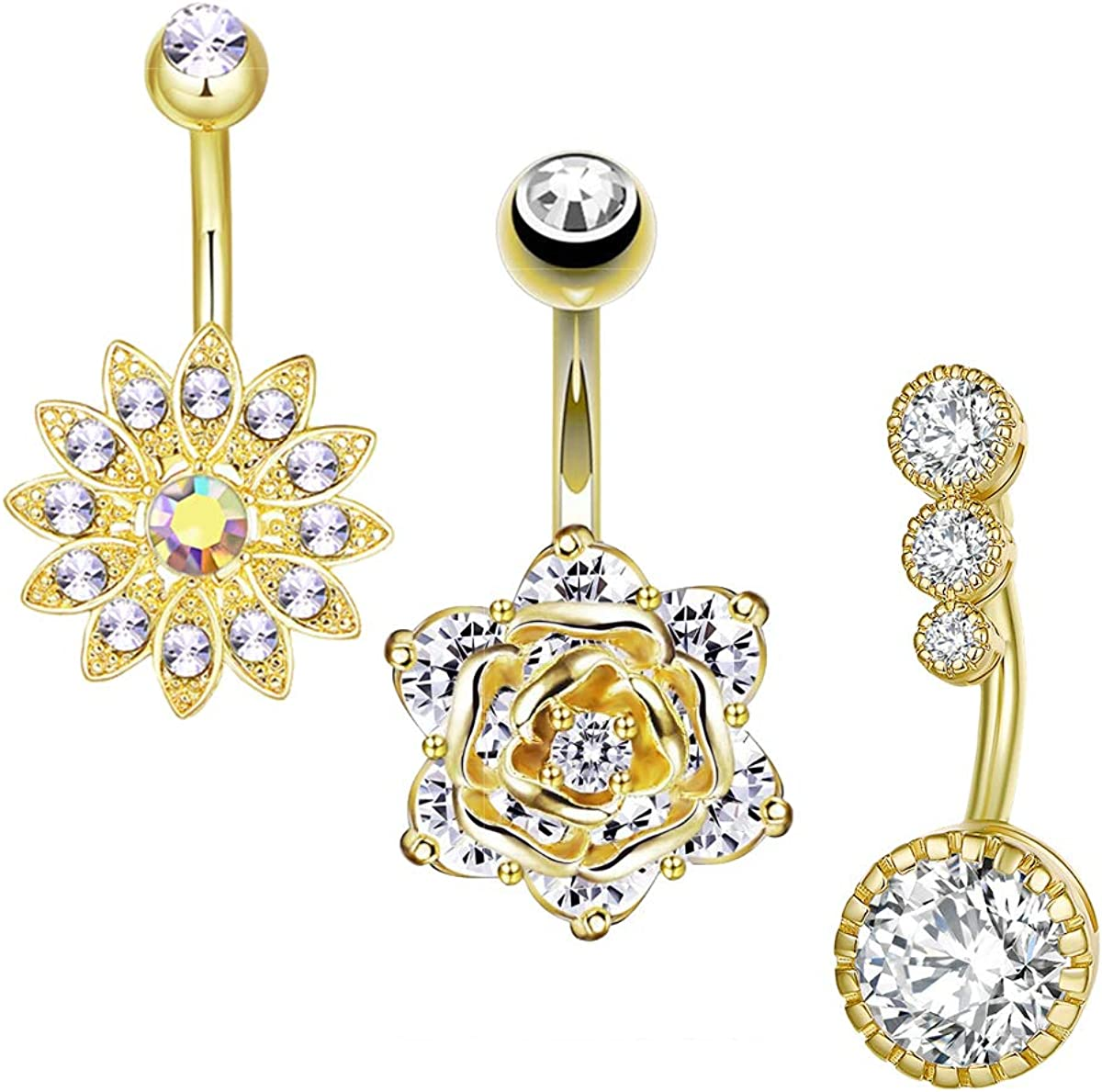 CEYIYA CZ Flower Belly Button Rings - Surgical Steel Vibrant Rhinestone Rose Flower Navel Rings 18k Gold - Diamond Short Belly Piercing Jewelry Pack of 3