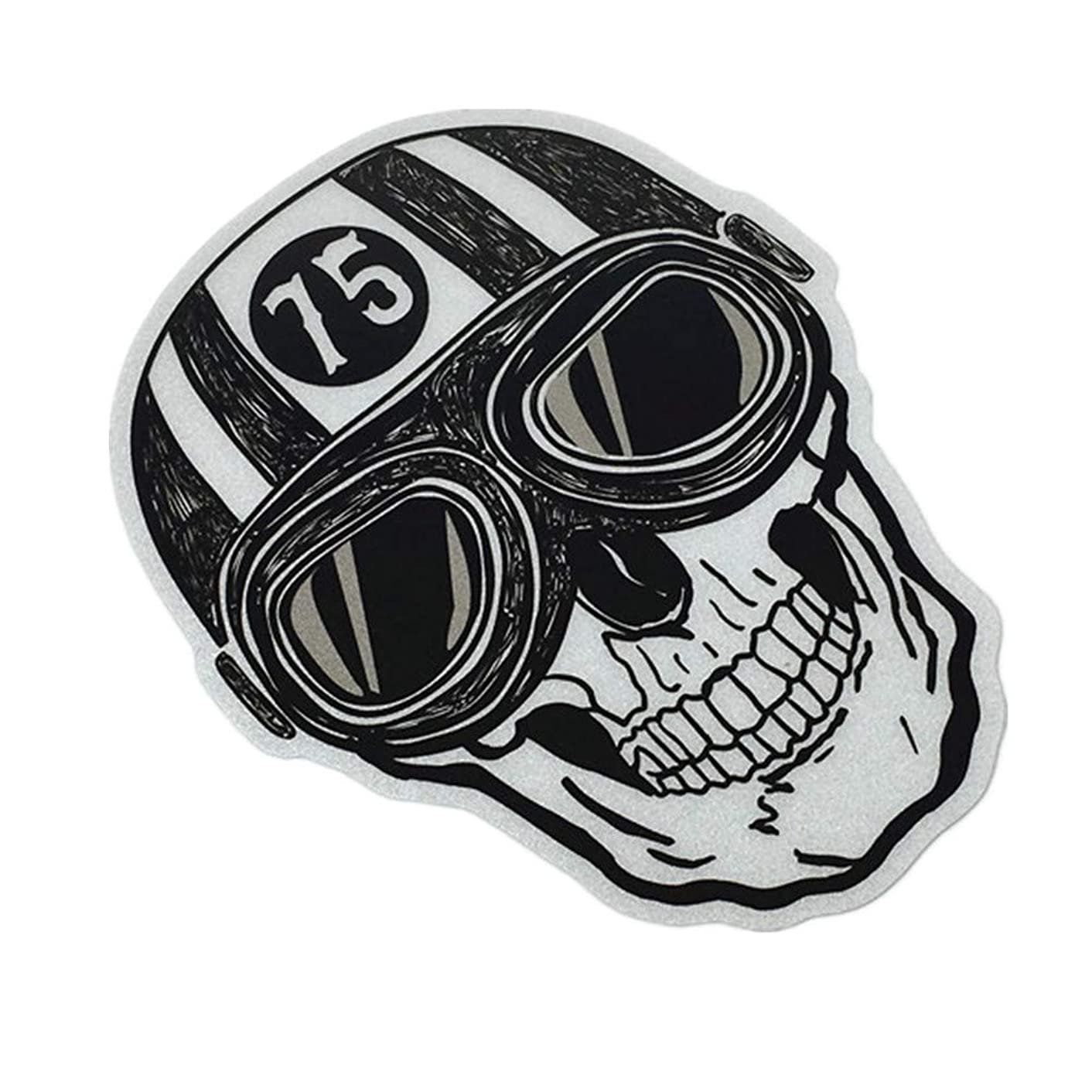 Langersun 1PCS Car Styling Decal Motorcycle Stickers Reflective for Skull Cafe Racer 10x8cm