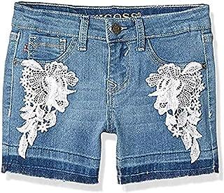 VIGOSS Big Girls' Super Stretch Denim Fashion Mid Shorts (Brite Blue, 7)