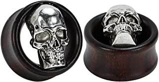 COOEAR Ebony Wood Metal Skull Style Gauges for Ears Piercing Body Jewelry Tunnels Plugs 1 Pair Selling