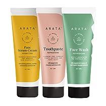 Arata Natural Essential Morning Regime With Facewash (50 ML), Face Serum-Cream (50 ML) & Toothpaste (50 ML)