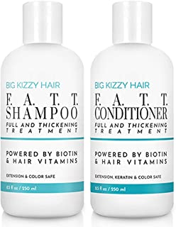 Big Kizzy F.A.T.T. Volumizing & Thickening Biotin Shampoo & Conditioner Set, Gentle Hair Care Hair Safe for Extensions Color Keratin Treatments, Strengthens & Nourishes Fragile Hair